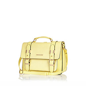 Yellow large satchel handbag