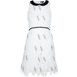 White embellished lace A-line dress