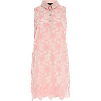 Light pink lace sleeveless shift dress