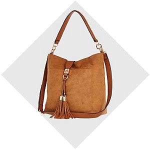 Tan faux suede tassel front slouchy handbag