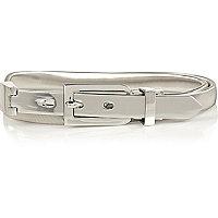 Silver tone skinny waist belt