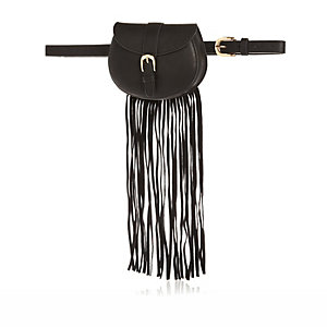 Black fringed belted purse