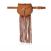 Tan fringed belted purse