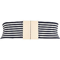 Navy stripe wide elasticated waist belt