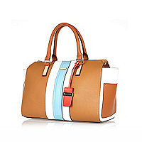 Tan striped bowler handbag