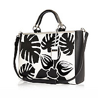 Black palm tree print tote bag