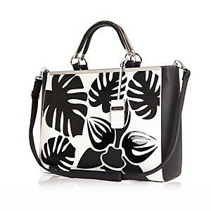 Black palm tree print tote handbag