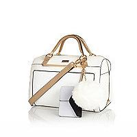 White pom pom bowler handbag