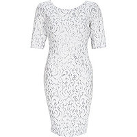 White sparkly 3/4 sleeve bodycon dress