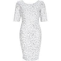 White sparkly 3/4 sleeve bodycon dress
