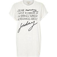 White weekday print oversized t-shirt