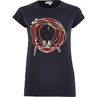Navy 8 print fitted t-shirt