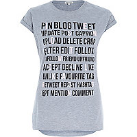 Grey pin blog tweet fitted t-shirt