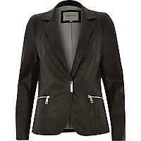 Black leather-look blazer jacket