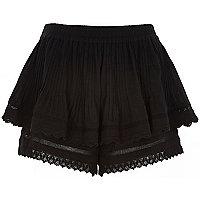 Black double layer crochet shorts
