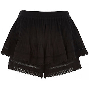 Black double layer crochet shorts