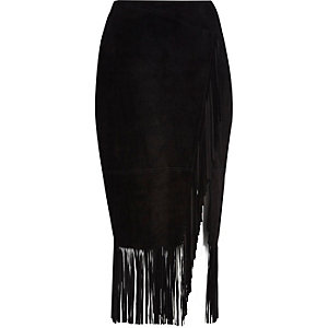 Black suede tassel fringed pencil skirt