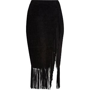 Black suede tassel fringed pencil skirt