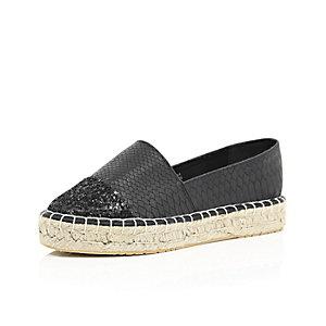 Black glitter toe espadrilles