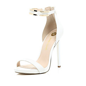 White leather barely there gold strap sandals