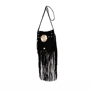 Black leather studded fringed cross body bag