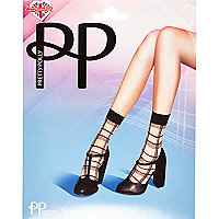 Beige Pretty Polly grid print ankle socks