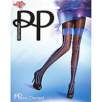 Navy Pretty Polly mock hold up tights