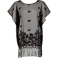 Black fringed lace cover up kaftan