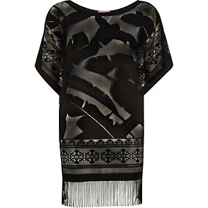 Black lace fringed cover up t-shirt