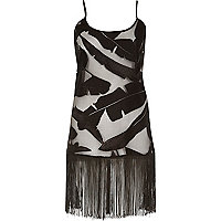 Black lace leaf print fringed cami dress