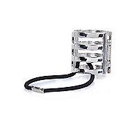 Silver tone cage hair tie clasp