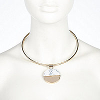 Gold tone half white circle torque necklace