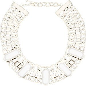 White chunky stone chain necklace