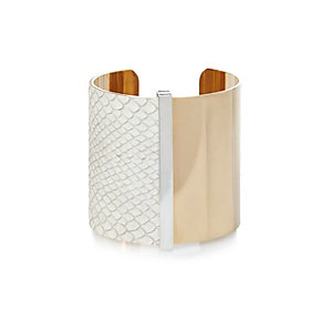 Gold tone half white textured cuff