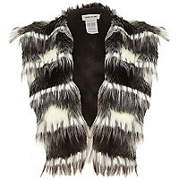 Black faux fur stripe gilet