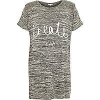 Grey create print split oversized t-shirt