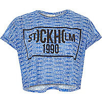 Blue Stockholm 1990 print cropped t-shirt