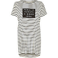 White stripe Paris print oversized t-shirt