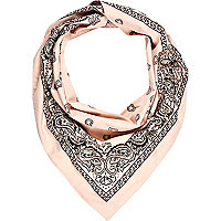 Pink embellished printed triangle scarf