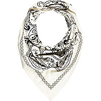 White embellished printed triangle scarf
