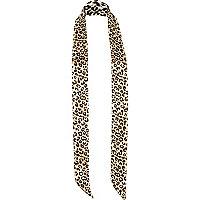 Brown leopard print skinny scarf