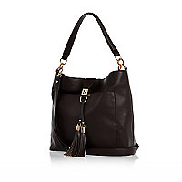 Dark brown tassel front slouchy handbag