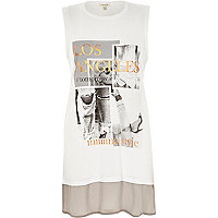 White photographic print tank top