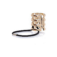 Gold tone cage hair tie clasp