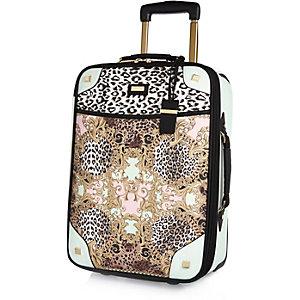 Pink baroque leopard print wheelie suitcase