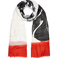 White ombre print oversized scarf