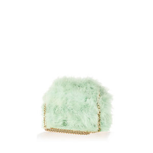 Light green fluffy cross body bag