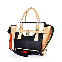 Black colour block padlock tote bag