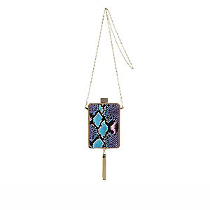 Blue snake print tassel box clutch