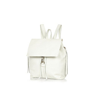 White leather dog clip backpack